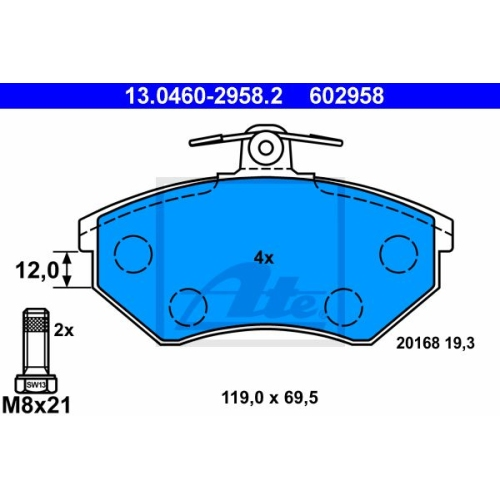 Bremsbelagsatz, Scheibenbremse ATE 13.0460-2958.2 SEAT VAG