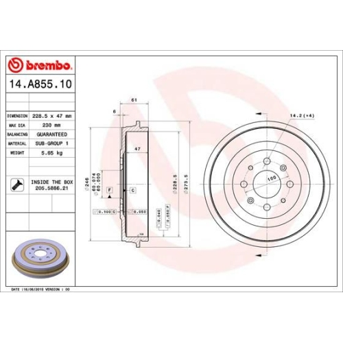 Brake Drum BREMBO 14.A855.10 FIAT OPEL
