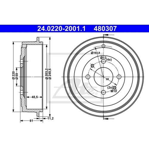 Bremstrommel ATE 24.0220-2001.1 CITROËN PEUGEOT