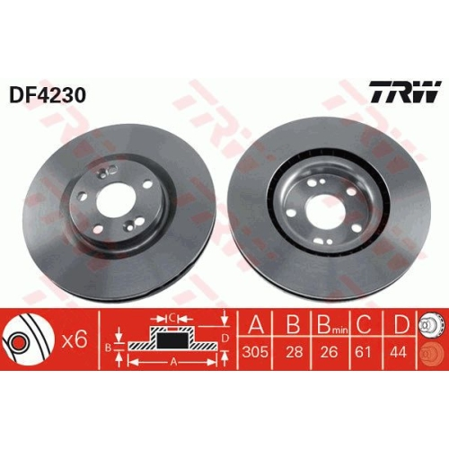 Brake Disc TRW DF4230 RENAULT