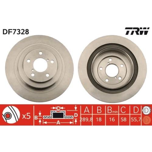 Brake Disc TRW DF7328 SUBARU