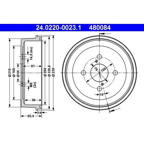 Brake Drum ATE 24.0220-0023.1 TOYOTA