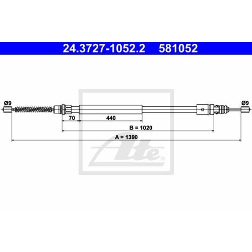 ATE Cable, parking brake 24.3727-1052.2