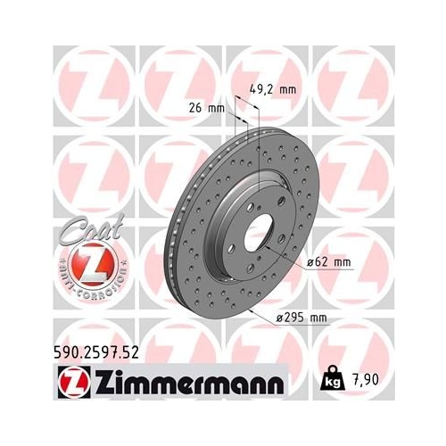 ZIMMERMANN Brake Disc 590.2597.52