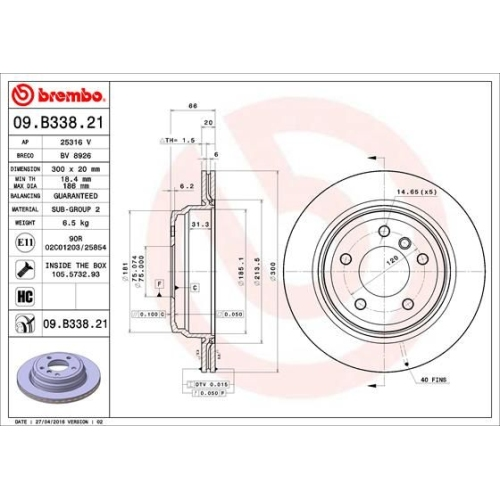 Bremsscheibe BREMBO 09.B338.21 COATED DISC LINE BMW