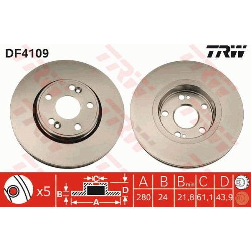 TRW Brake Disc DF4109