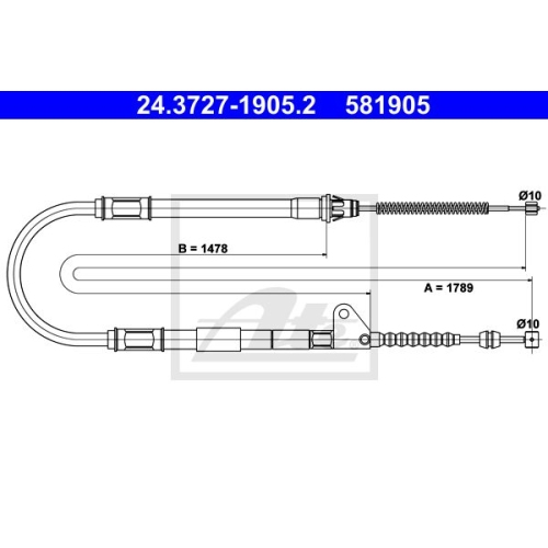 ATE Cable, parking brake 24.3727-1905.2