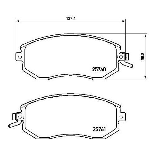 Brake Pad Set, disc brake BREMBO P 78 021 SUBARU TOYOTA