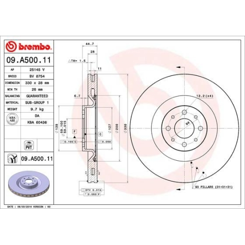 Bremsscheibe BREMBO 09.A500.11 COATED DISC LINE LANCIA