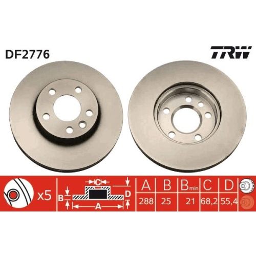 Brake Disc TRW DF2776 FORD SEAT VW