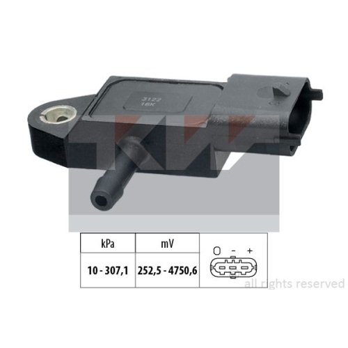 Sensor, exhaust pressure KW 493 348 Made in Italy - OE Equivalent FORD
