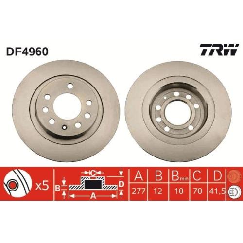 Brake Disc TRW DF4960 OPEL VAUXHALL