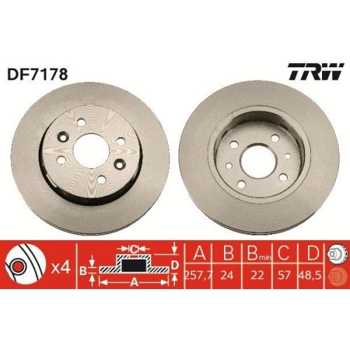 Brake Disc TRW DF7178 KIA
