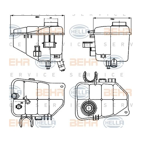 Expansion Tank, coolant HELLA 8MA 376 755-221 MERCEDES-BENZ