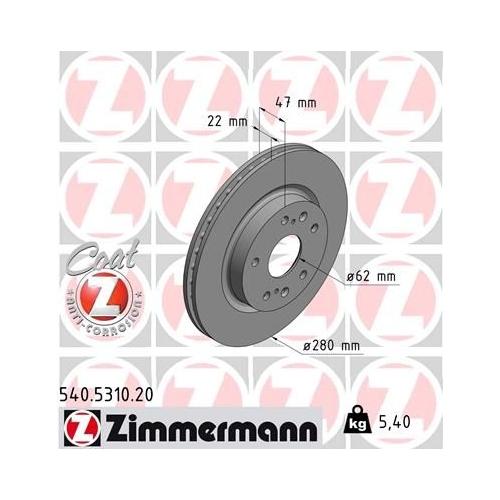 ZIMMERMANN Brake Disc 540.5310.20