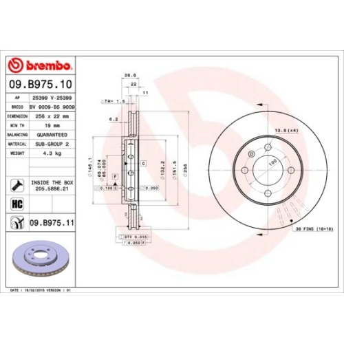 Brake Disc BREMBO 09.B975.11 COATED DISC LINE SEAT SKODA VW