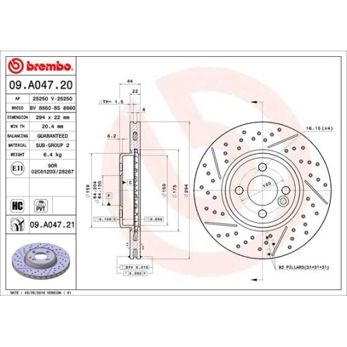 Bremsscheibe BREMBO 09.A047.21 COATED DISC LINE MINI