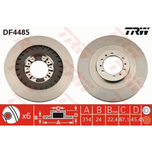 Brake Disc TRW DF4485 MITSUBISHI