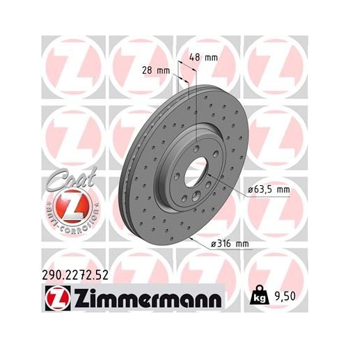 ZIMMERMANN Brake Disc 290.2272.52