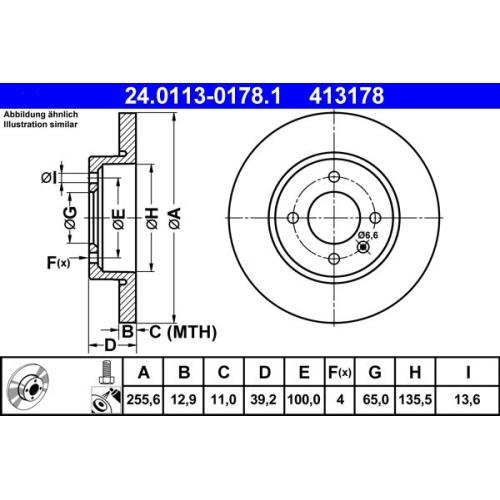 Bremsscheibe ATE 24.0113-0178.1 SEAT VAG