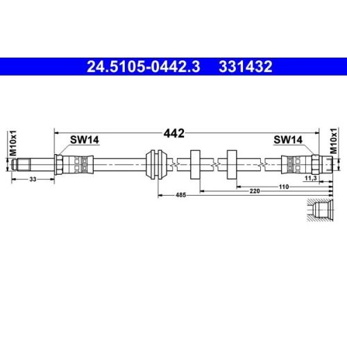 Brake Hose ATE 24.5105-0442.3 SEAT VAG