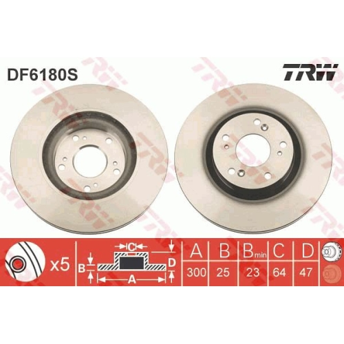 TRW Brake Disc DF6180S