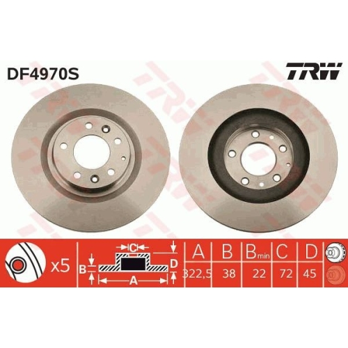 TRW Brake Disc DF4970S