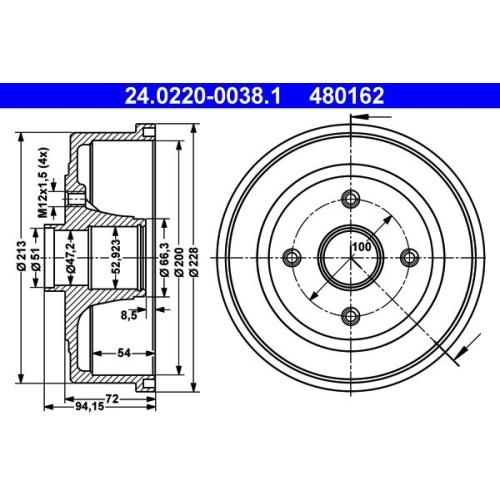 Brake Drum ATE 24.0220-0038.1 OPEL VAUXHALL