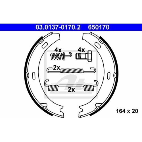 Bremsbackensatz, Feststellbremse ATE 03.0137-0170.2 MERCEDES-BENZ