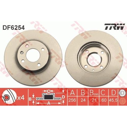 Brake Disc TRW DF6254 CHEVROLET