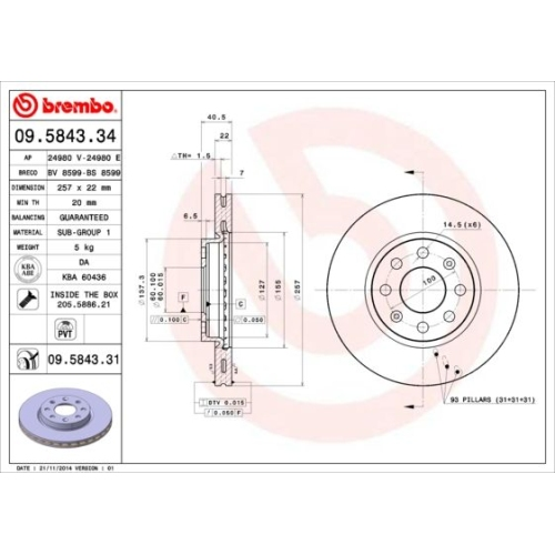 Bremsscheibe BREMBO 09.5843.31 COATED DISC LINE FIAT OPEL VAUXHALL