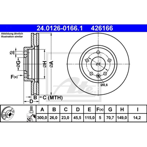 Brake Disc ATE 24.0126-0166.1 OPEL VAUXHALL CHEVROLET