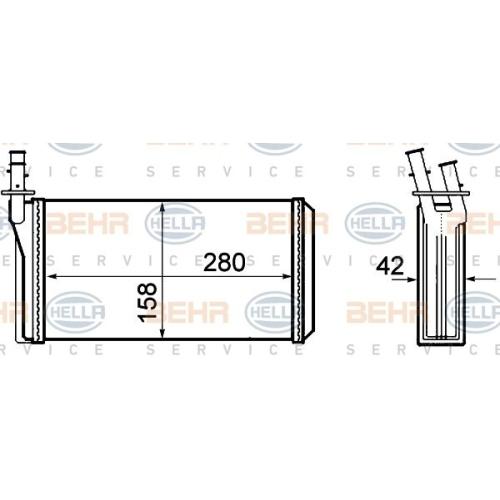Wärmetauscher, Innenraumheizung HELLA 8FH 351 308-401 ALFA ROMEO