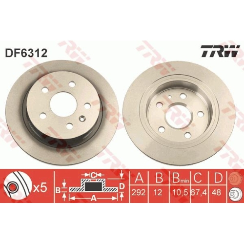 Brake Disc TRW DF6312 OPEL SAAB VAUXHALL