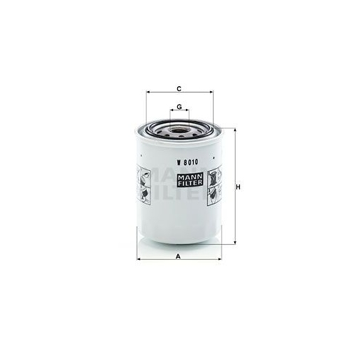 Filter, operating hydraulics MANN-FILTER W 8010 KUBOTA KOBELCO