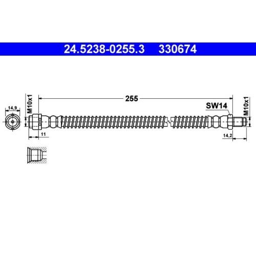 Brake Hose ATE 24.5238-0255.3 MERCEDES-BENZ