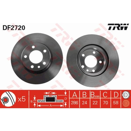Brake Disc TRW DF2720 OPEL VAUXHALL