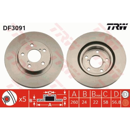 TRW Brake Disc DF3091
