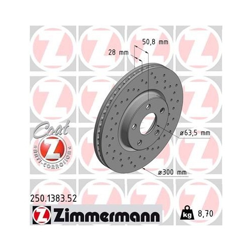 ZIMMERMANN Brake Disc 250.1383.52