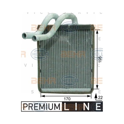 Heat Exchanger, interior heating HELLA 8FH 351 315-321 KIA