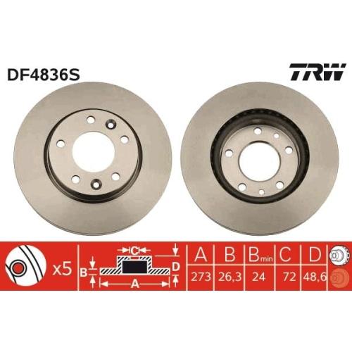 TRW Brake Disc DF4836S