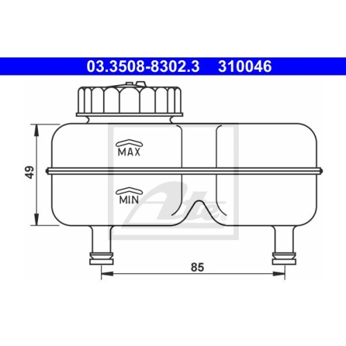 Expansion Tank, brake fluid ATE 03.3508-8302.3 DAF OPEL VAUXHALL VOLVO VAG