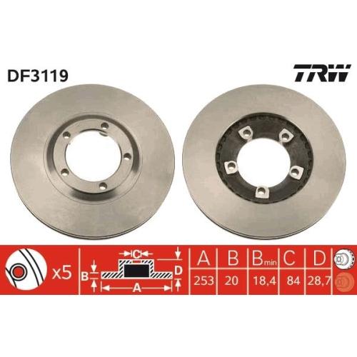 TRW Brake Disc DF3119