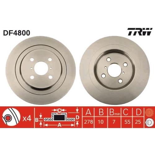 Brake Disc TRW DF4800 DAIHATSU TOYOTA