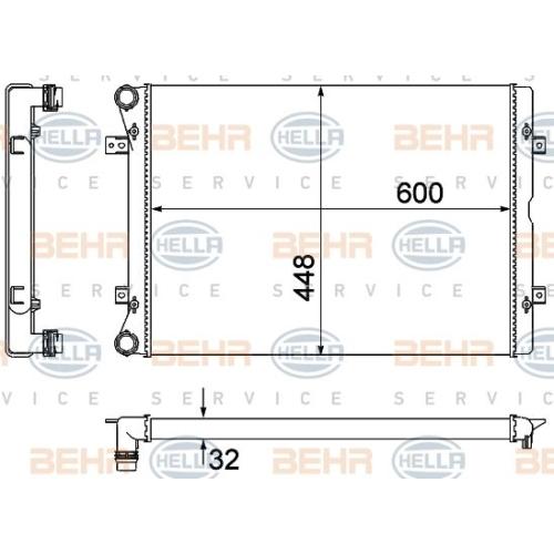 Radiator, engine cooling HELLA 8MK 376 901-101 FORD SEAT VW
