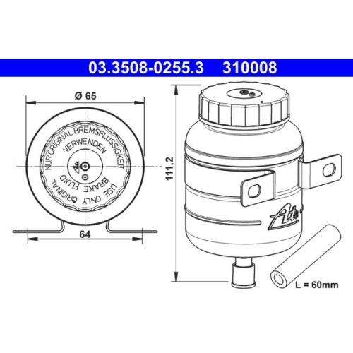 Expansion Tank, brake fluid ATE 03.3508-0255.3