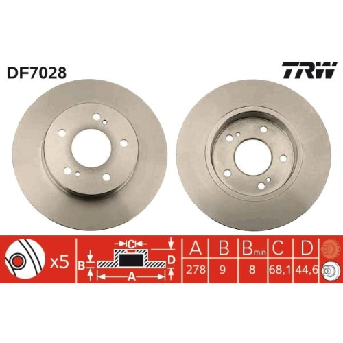Brake Disc TRW DF7028 NISSAN