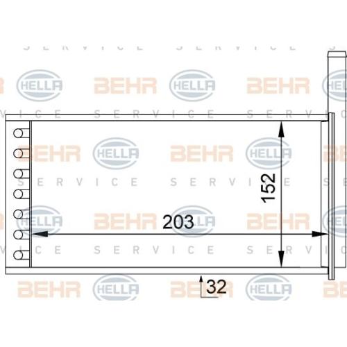 Wärmetauscher, Innenraumheizung HELLA 8FH 351 313-231 FORD
