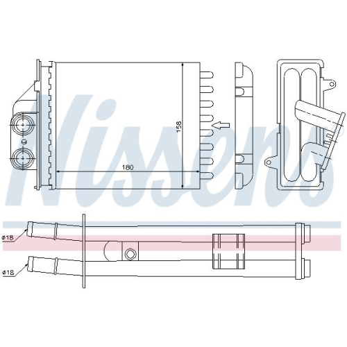 Wärmetauscher, Innenraumheizung NISSENS 71453 FIAT FORD