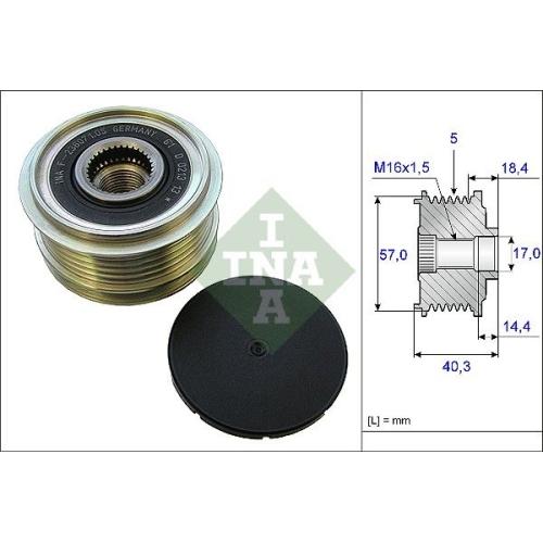 Alternator Freewheel Clutch INA 535 0187 10 HYUNDAI KIA
